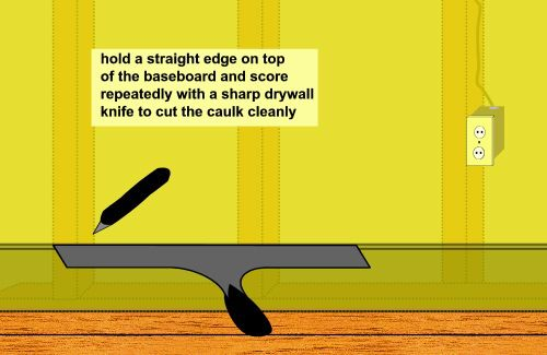 cutting caulk along top of baseboard to remove it
