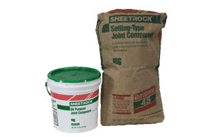 photo of a bag of setting-type and a bucket of ready-mixed joint compound
