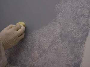 How To Paint A Faux Stone Finish Do It Yourself: grey sponge painted walls