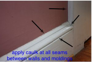 Drawing Demonstrating Where To Ly Caulk On A Baseboard And Wall
