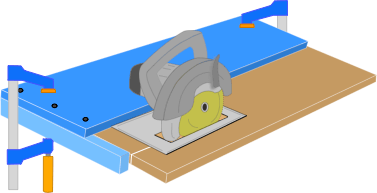 illustration demonstrating how to use a circular saw crosscut jig