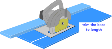 illustration demonstrating how to trim a circular saw rip jig