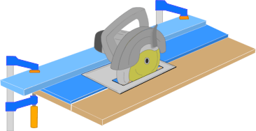 illustration demonstrating how to use a circular saw rip jig