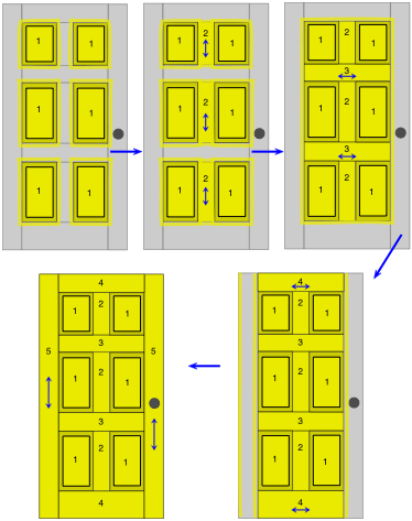 drawing demonstrating the order in which to paint a raised-panel door