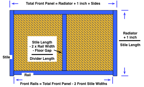 diagram of the front panel of a wooden radiator cover