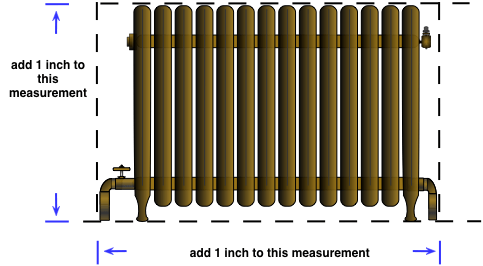 drawing demonstrating how to measure the front of a cast iron radiator