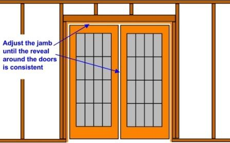 adjusting the reveal to square a door installation  sc 1 st  Do-it-yourself-help.com & How to Install a Pre-Hung Door or Window - Do-it-yourself-help.com
