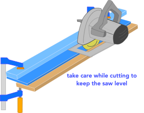 illustration demonstrating how to use a circular saw rip jig for narrow boards
