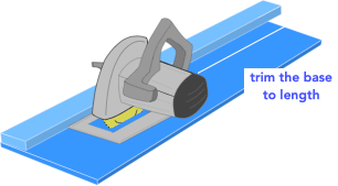 illustration demonstrating how to trim a circular saw rip jig for narrow boards