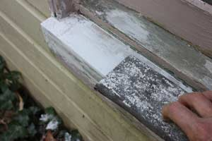 sanding hardened epoxy on a windowsill