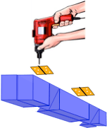 drawing illustrating drilling pilot holes for hinges