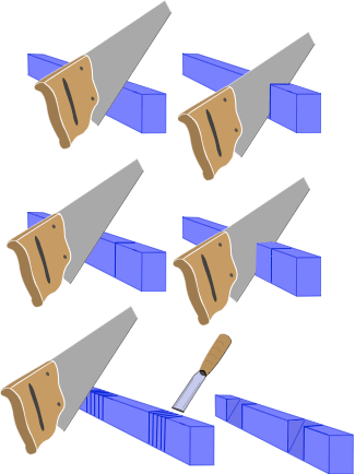 drawing illustrating how to cut a notch for a lap joint