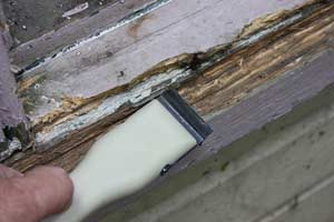 scraping a rotted wood windowsill