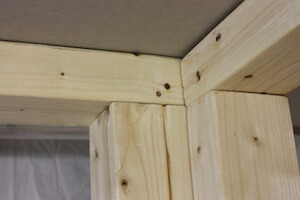 photo of wall studs forming a corner