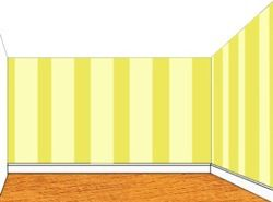 drawing of vertical stripes on two walls of a room