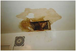 water-damaged drywall ceiling