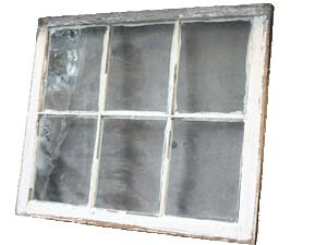 photo of the interior of a wooden window sash and glass pane
